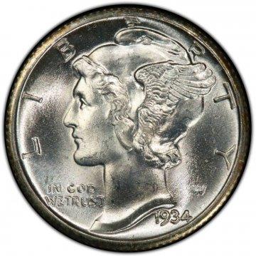 1934 Mercury Silver Dime Coin - Choice BU