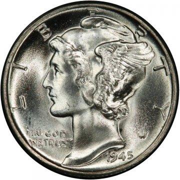 1945 Mercury Silver Dime Coin - Choice BU