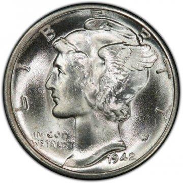 1942-D Mercury Silver Dime Coin - Choice BU