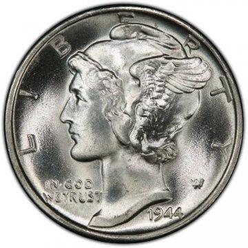1944-D Mercury Silver Dime Coin - Choice BU
