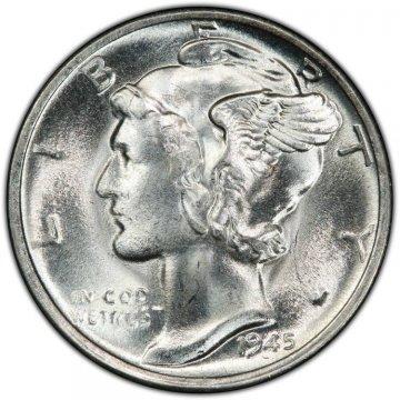 1945-S Mercury Silver Dime Coin - Micro S - Choice BU