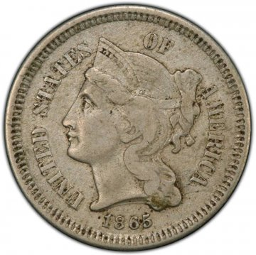 1865 Three Cent Nickel Pieces from the Civil War - Very Good or Better