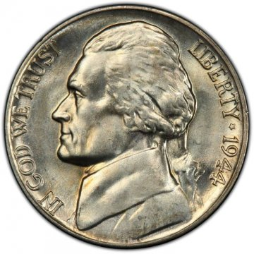 1944-D Jefferson War Nickel Silver Coin - Choice Uncirculated