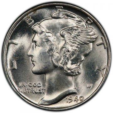 1940 Mercury Silver Dime Coin - Choice BU