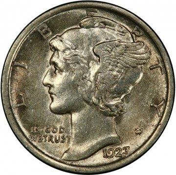 1923 Mercury Silver Dime Coin - Choice AU