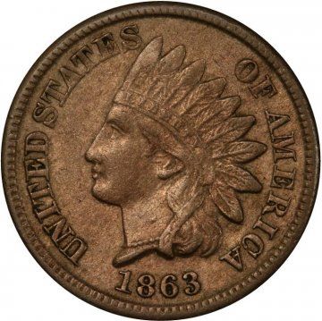 1862 or 1863 Copper Nickel Indian Head Cent Coin From The Civil War - Extremely Fine