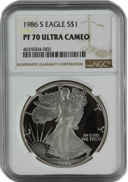 1986-S 1 oz American Proof Silver Eagle Coin - NGC PF-70 Ultra Cameo