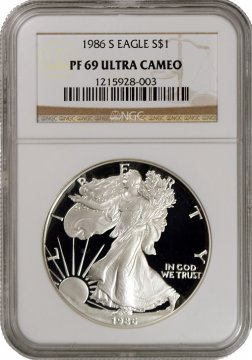 1986-S 1 oz American Proof Silver Eagle Coin - NGC PF-69 Ultra Cameo
