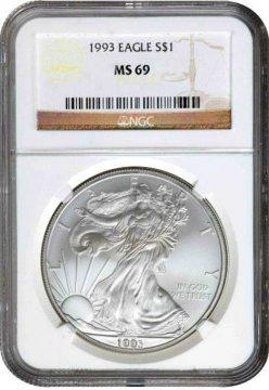 1993 1 oz American Silver Eagle Coin - NGC MS-69
