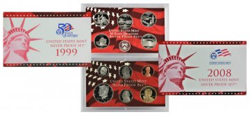 All 10 1999-2008 U.S. Silver Proof Coin Sets