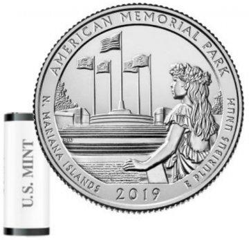 2019 40-Coin American Memorial Park Quarter Rolls - S Mint - BU