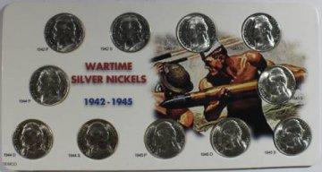 1942-45 11-Coin War Nickel Set - 35% Silver - Choice BU
