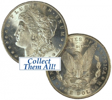 1889 Morgan Silver Dollar Coin - VAM-22 Bar Wing - BU