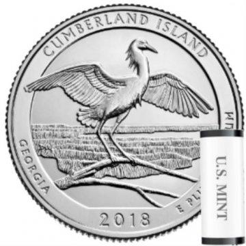 2018 40-Coin Cumberland Island Quarter Rolls - P or D Mint - BU