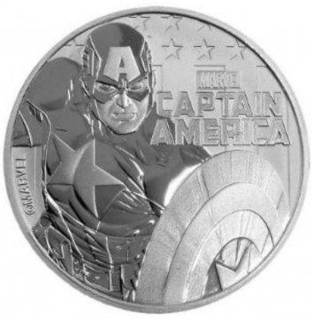 2019 1 oz Tuvalu Silver Marvel Series Captain America Coin - Gem BU