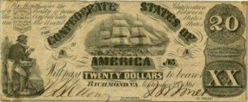 1861 $20.00 CSA Confederate Clipper Ship Note - Fine or Better