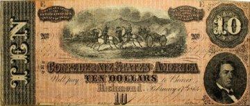 1864 $10.00 CSA Confederate Note - Fine or Better