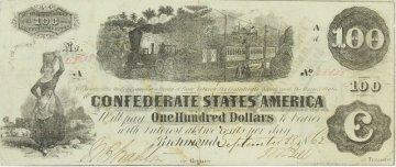 1862 $100.00 CSA Confederate Train Note - Fine or Better