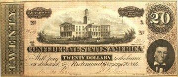 1864 $20.00 CSA Confederate Note - Fine or Better