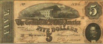 1863 $5.00 CSA Confederate Note - Fine or Better