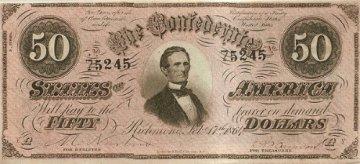 1864 $50.00 CSA Confederate Note - Fine or Better