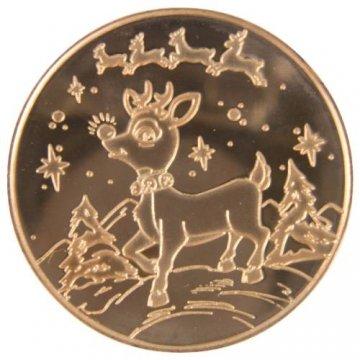 1 oz Copper Round - Christmas Series - Rudolph Design