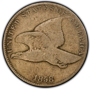 1858 Flying Eagle Cent Coin - Large Letters - Good