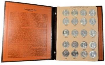 1948-1963 35-Coin Complete Set of Franklin Silver Half Dollars - AU/BU