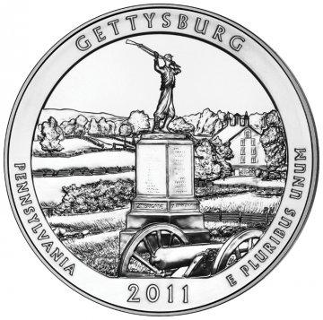2011 5 oz ATB Gettysburg Silver Coin - Gem BU