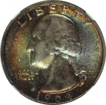 1964 Washington Silver Quarter Coin - NGC MS-67 - Pretty Toning