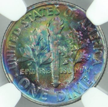 1954 Roosevelt Silver Dime Coin - NGC MS-66 - Colorful Reverse Toning!