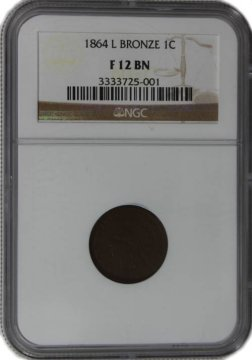 1864-L Indian Head Cent Coin - Bronze - NGC F-12 Brown