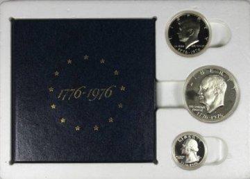 1976 U.S. Bicentennial 3-Piece Silver Proof Coin Set - Original Shipping Holder!