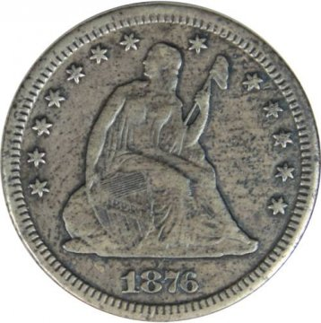 1876-CC Seated Liberty Silver Quarter Coin - Extremely Fine