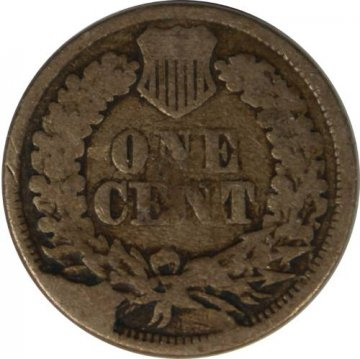 1862 Copper Nickel Indian Head Cent Coin From The Civil War - Good to Very Good - Reverse CUD
