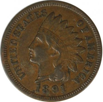 1891 Indian Head Cent Coin - Choice Extremely Fine