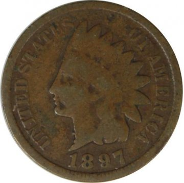 1897 Indian Head Cent Coin - Misplaced Digit - 1 in Neck - Very Good