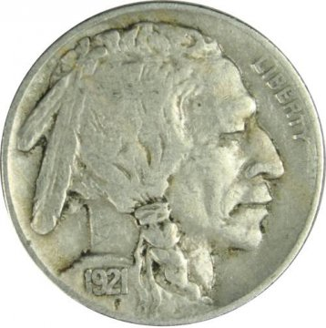 1921 Buffalo Nickel Coin - Very Fine to Extremely Fine
