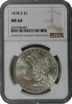 1878-S Morgan Silver Dollar Coin - NGC MS-64
