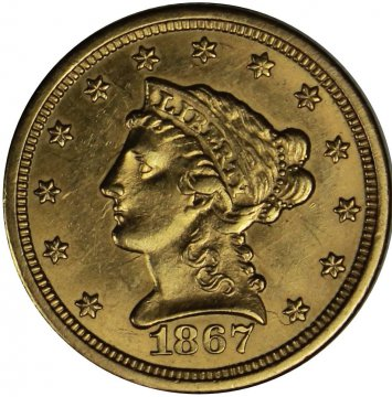 1867-S $2.50 Liberty Head Quarter Eagle Gold Coins - AU/UNC - Lightly Cleaned