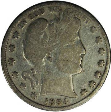 1894 Barber Silver Half Dollar Coin - Good