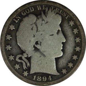 1894-O Barber Silver Half Dollar Coin - Very Good