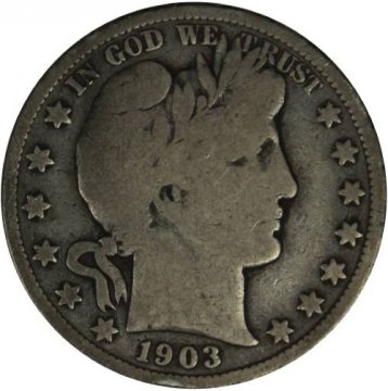 1903-S Barber Silver Half Dollar Coin - Very Good