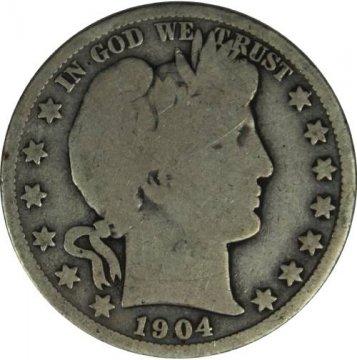 1904-O Barber Silver Half Dollar Coin - Good