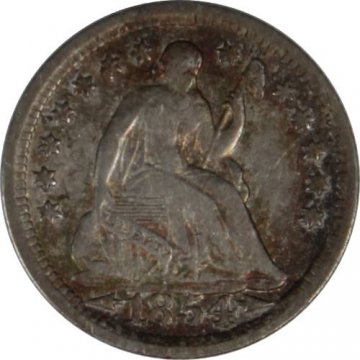 1854 Seated Liberty Silver Half Dime Coin - w/ Arrows - Extremely Fine