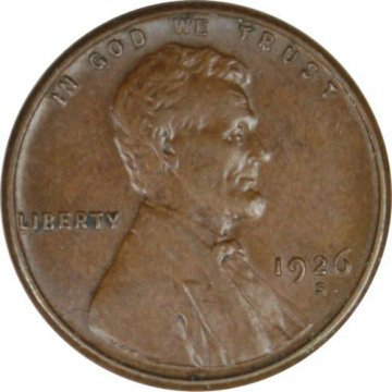 1926-S Lincoln Wheat Cent Coin - Borderline Uncirculated