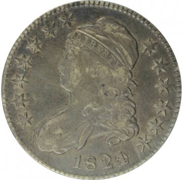 1824 Bust Silver Half Dollar Coin - Extremely Fine to About Uncirculated - Various Dates Variety