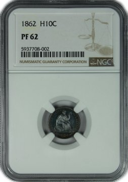 1862 Seated Liberty Silver Half Dime Coin - Civil War - NGC PF-62 - 550 Minted!