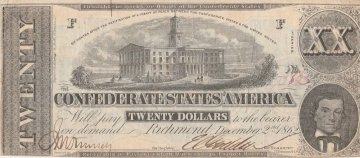 1862 $20.00 CSA Confederate Note - Extremely Fine - Cut Cancelled