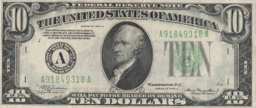 1934 $10.00 U.S. Federal Reserve Note - Green Seal - Extremely Fine